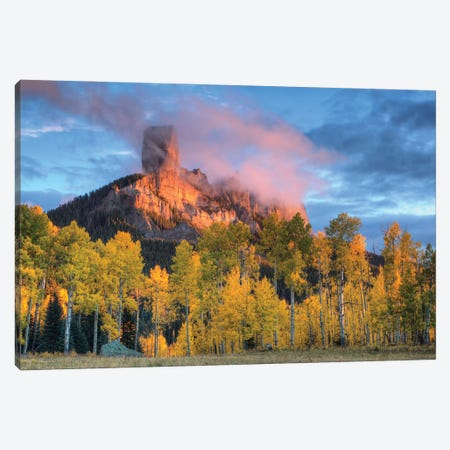 USA, Colorado, San Juan Mountains. Chimney Rock formation and aspens at sunset. Canvas Print #JYG1062} by Jaynes Gallery Art Print