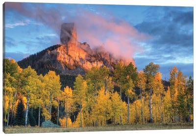 USA, Colorado, San Juan Mountains. Chimney Rock formation and aspens at sunset. Canvas Art Print