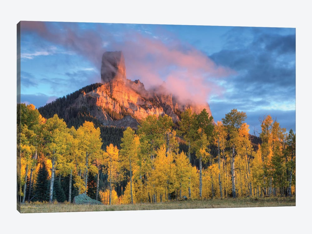 USA, Colorado, San Juan Mountains. Chimney Rock formation and aspens at sunset. by Jaynes Gallery 1-piece Canvas Print