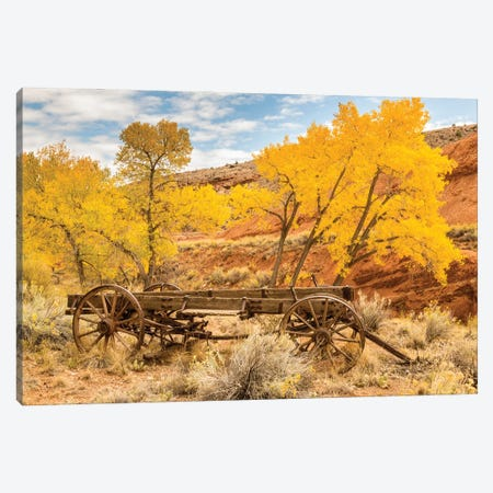USA, Utah, Capitol Reef National Park. Old wagon and mountain and trees in autumn. Canvas Print #JYG1063} by Jaynes Gallery Canvas Art Print