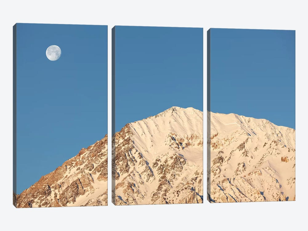 USA, California, Sierra Nevada Mountains. Moonset behind Mt. Tom. by Jaynes Gallery 3-piece Canvas Artwork