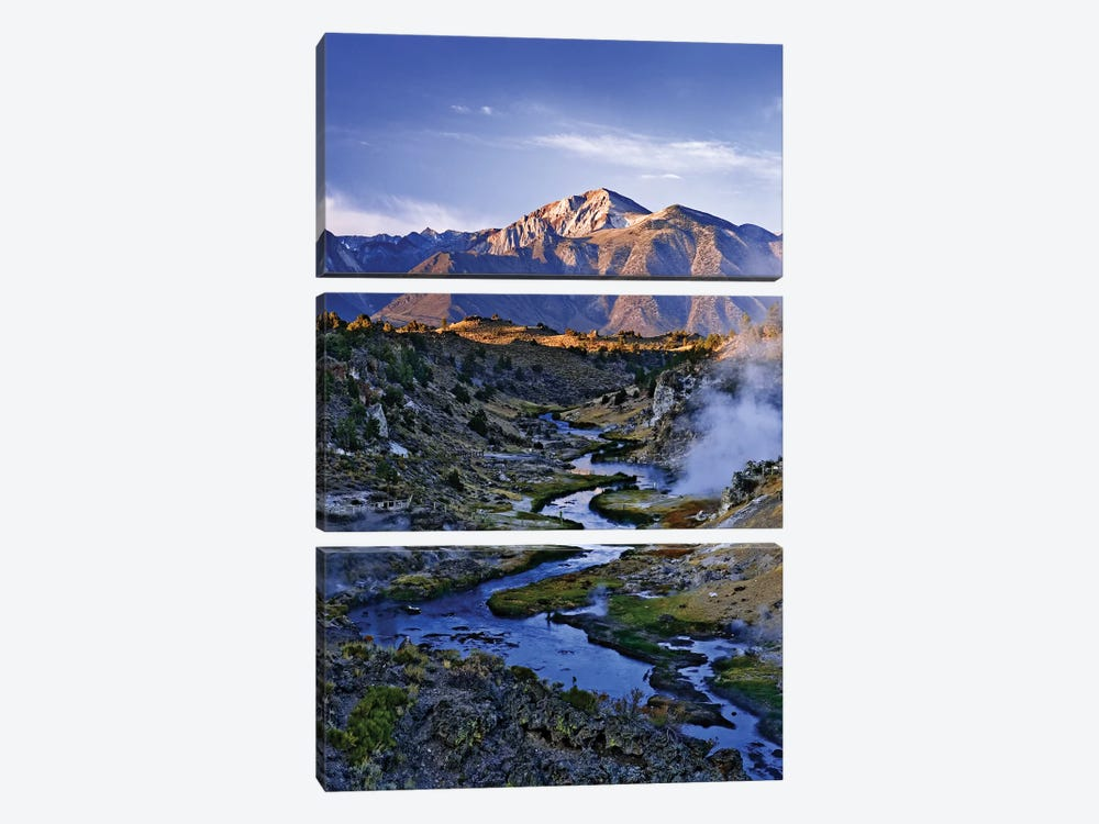USA, California, Sierra Nevada Mountains. Sunrise on geothermal area of Hot Creek. by Jaynes Gallery 3-piece Canvas Art Print