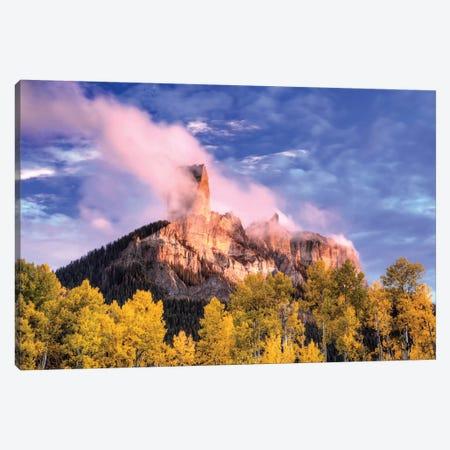 USA, Colorado, San Juan Mountains. Autumn aspen trees and Chimney Rock. Canvas Print #JYG127} by Jaynes Gallery Art Print