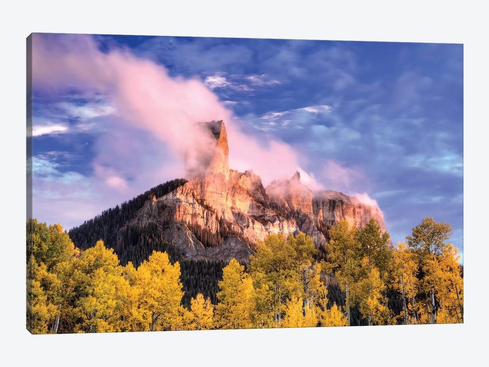 USA, Colorado, San Juan Mountains. Autumn aspen trees and Chimney Rock. by Jaynes Gallery 1-piece Canvas Art