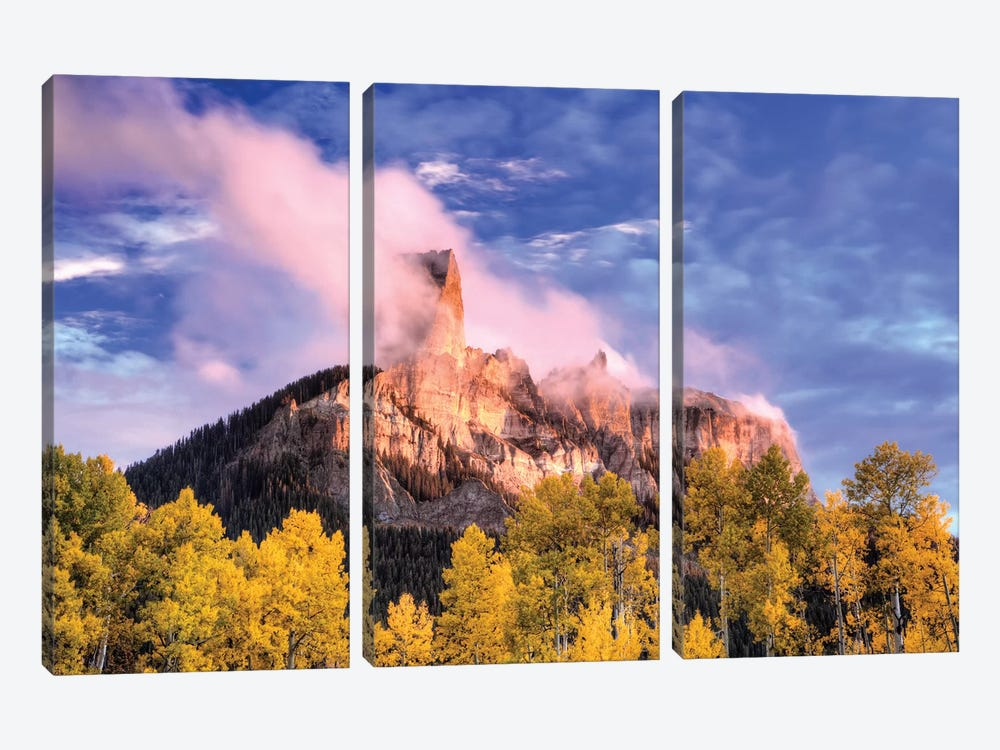 USA, Colorado, San Juan Mountains. Autumn aspen trees and Chimney Rock. by Jaynes Gallery 3-piece Canvas Wall Art