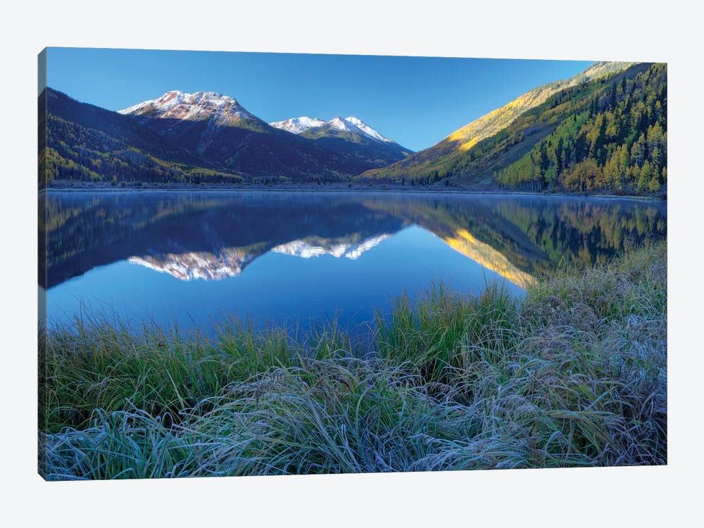 USA, Colorado, San Juan Mountains. Frosty morning at Crystal Lake. by Jaynes Gallery 1-piece Canvas Artwork