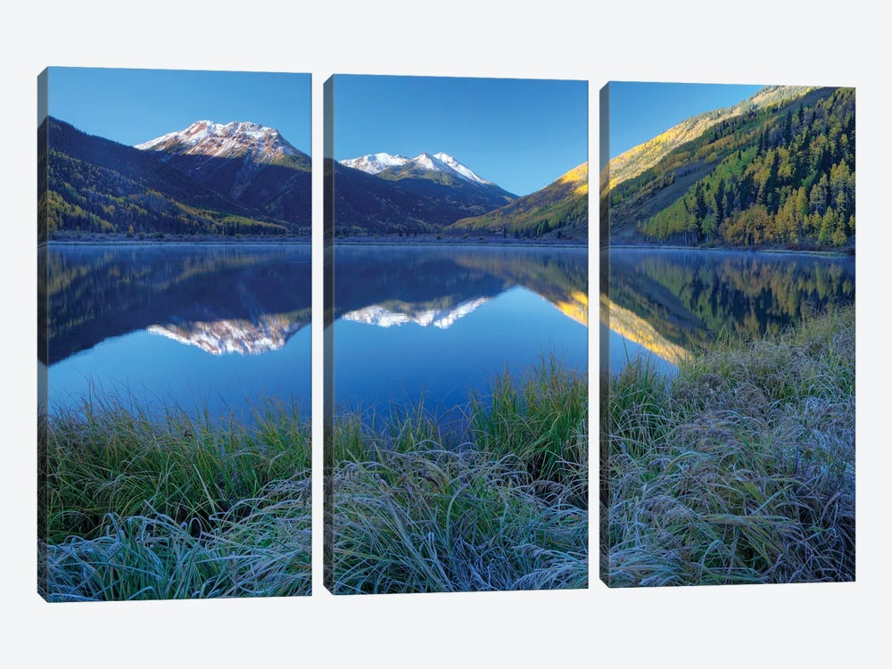 USA, Colorado, San Juan Mountains. Frosty morning at Crystal Lake. by Jaynes Gallery 3-piece Canvas Art