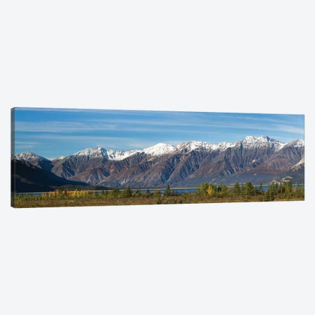 Canada, Yukon, Panoramic of St. Elias Range and Kluane Lake. 3-Piece Canvas #JYG12} by Jaynes Gallery Canvas Print