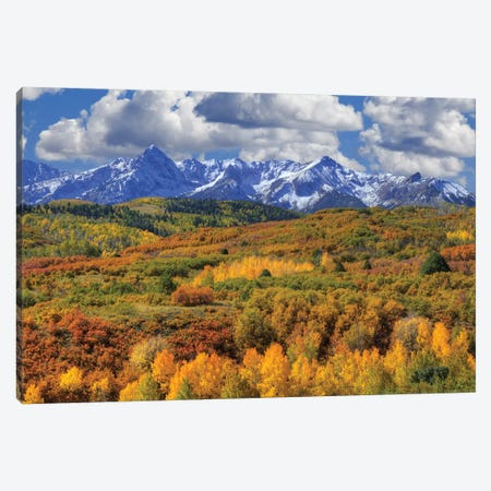 USA, Colorado, San Juan Mountains. Mountain and valley landscape in autumn. Canvas Print #JYG131} by Jaynes Gallery Canvas Art Print