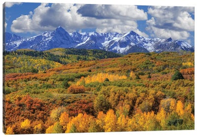USA, Colorado, San Juan Mountains. Mountain and valley landscape in autumn. Canvas Art Print