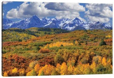 USA, Colorado, San Juan Mountains. Mountain and valley landscape in autumn. Canvas Art Print