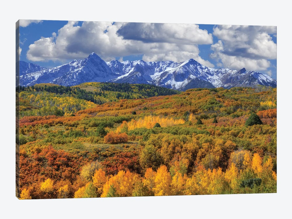 USA, Colorado, San Juan Mountains. Mountain and valley landscape in autumn. by Jaynes Gallery 1-piece Art Print