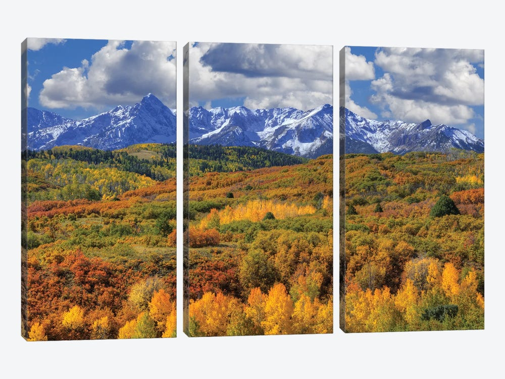 USA, Colorado, San Juan Mountains. Mountain and valley landscape in autumn. by Jaynes Gallery 3-piece Canvas Art Print
