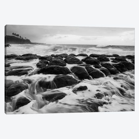 USA, Hawaii, Kauai. Black and white of rocky shoreline. Canvas Print #JYG133} by Jaynes Gallery Art Print