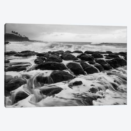 USA, Hawaii, Kauai. Black and white of rocky shoreline. Canvas Print #JYG133} by Jaynes Gallery Art Print