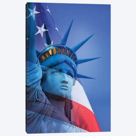 USA, Nevada, Las Vegas. Statue of Liberty and American flag composite. Canvas Print #JYG136} by Jaynes Gallery Canvas Art