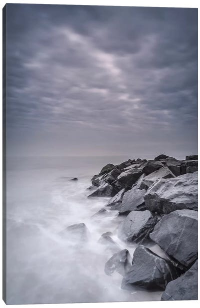 USA, New Jersey, Cape May National Seashore. Stormy shoreline landscape. Canvas Art Print