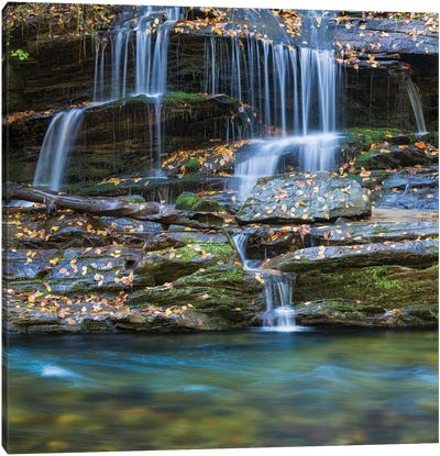 USA, North Carolina, Great Smoky Mountains. Scenic of Tom Branch Falls. Canvas Art Print