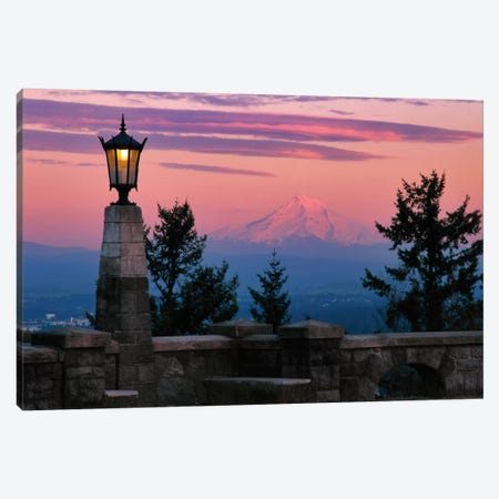 USA, Oregon, Portland. Mt. Hood with moonrise at sunset I Canvas Print #JYG146} by Jaynes Gallery Canvas Print