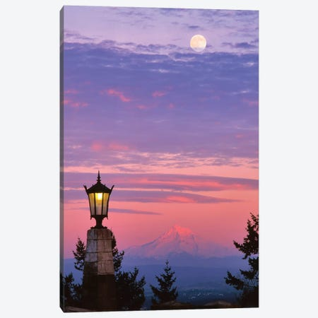 USA, Oregon, Portland. Mt. Hood with moonrise at sunset II Canvas Print #JYG147} by Jaynes Gallery Canvas Print