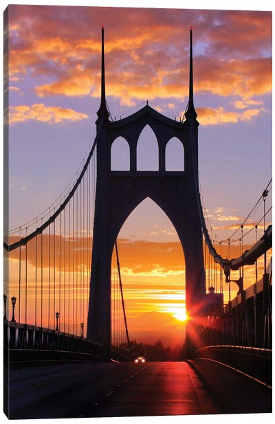 USA, Oregon, Portland. St. Johns Bridge at sunrise. Canvas Art Print