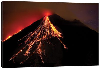Caribbean, Costa Rica. Mt. Arenal erupting with molten lava  Canvas Art Print