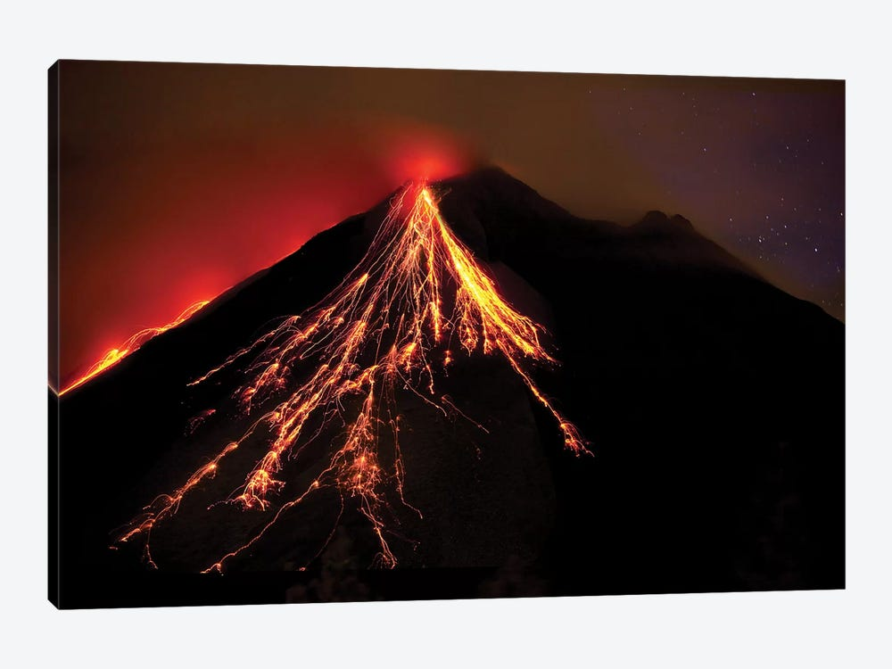 Caribbean, Costa Rica. Mt. Arenal erupting with molten lava  by Jaynes Gallery 1-piece Canvas Wall Art