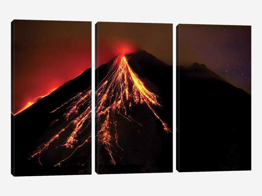 Caribbean, Costa Rica. Mt. Arenal erupting with molten lava  3-piece Canvas Wall Art