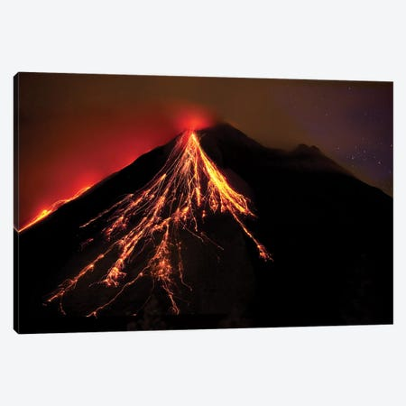 Caribbean, Costa Rica. Mt. Arenal erupting with molten lava  3-Piece Canvas #JYG14} by Jaynes Gallery Canvas Artwork