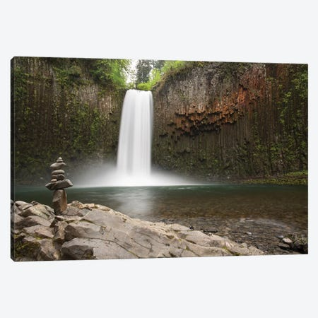 USA, Oregon. Abiqua Falls and stacked pile of rocks. Canvas Print #JYG150} by Jaynes Gallery Art Print