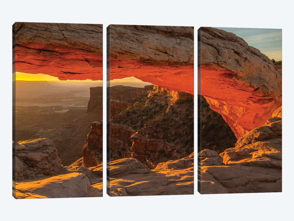 USA, Utah, Canyonlands National Park. Mesa Arch at sunrise. by Jaynes Gallery 3-piece Canvas Print
