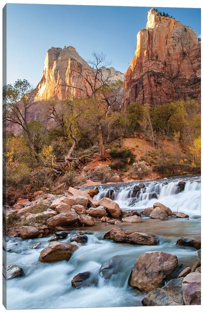 USA, Utah, Zion National Park. The Patriarchs formation and Virgin River. Canvas Art Print