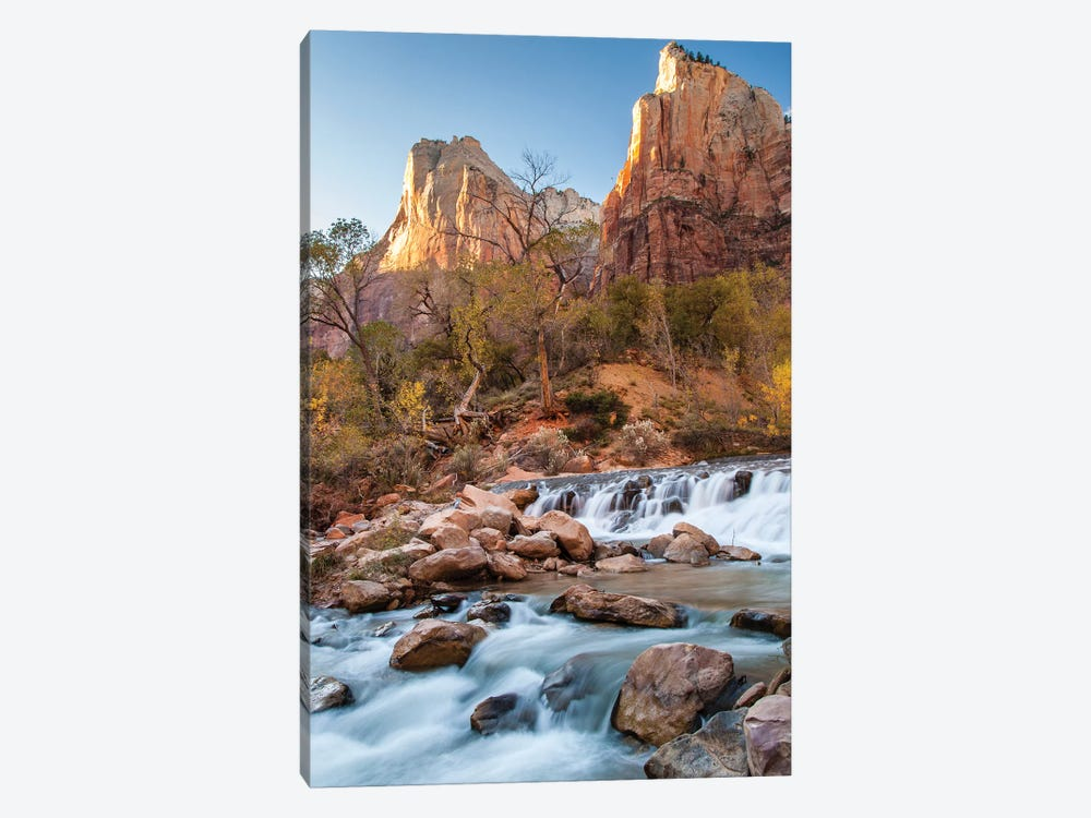 USA, Utah, Zion National Park. The Patriarchs formation and Virgin River. by Jaynes Gallery 1-piece Canvas Print