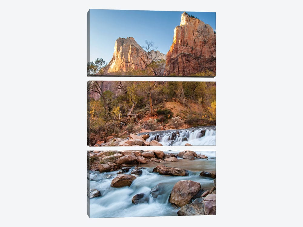 USA, Utah, Zion National Park. The Patriarchs formation and Virgin River. by Jaynes Gallery 3-piece Canvas Print