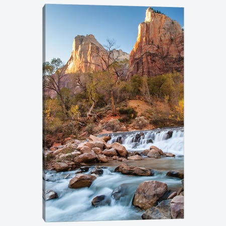 USA, Utah, Zion National Park. The Patriarchs formation and Virgin River. Canvas Print #JYG162} by Jaynes Gallery Canvas Artwork