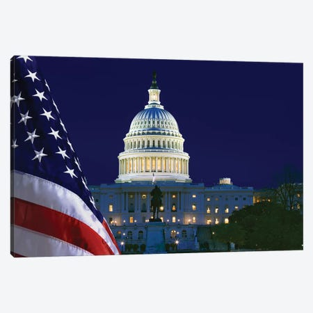 USA, Washington DC. Capitol Building and US flag at night. Canvas Print #JYG163} by Jaynes Gallery Canvas Art