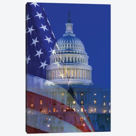 USA, Washington DC. Composite of flag and Capitol Building at night. Canvas Print #JYG164} by Jaynes Gallery Canvas Print