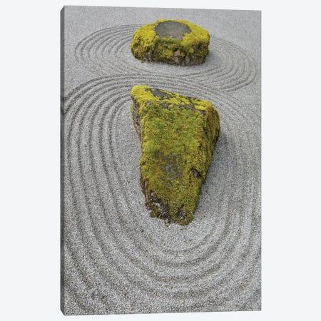 USA, Washington State, Bainbridge Island. Raked sand around rock II Canvas Print #JYG168} by Jaynes Gallery Canvas Wall Art