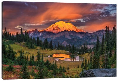 USA, Washington State, Mt. Rainier National Park at sunrise. Canvas Art Print