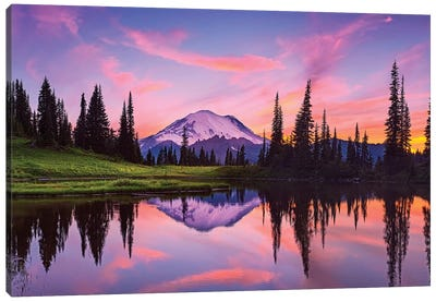 USA, Washington State, Mt. Rainier National Park. Tipsoo Lake panoramic at sunset. Canvas Art Print