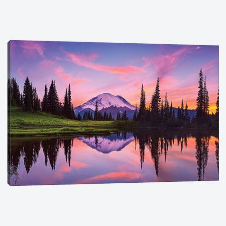 USA, Washington State, Mt. Rainier National Park. Tipsoo Lake panoramic at sunset. Canvas Print #JYG171} by Jaynes Gallery Canvas Art Print