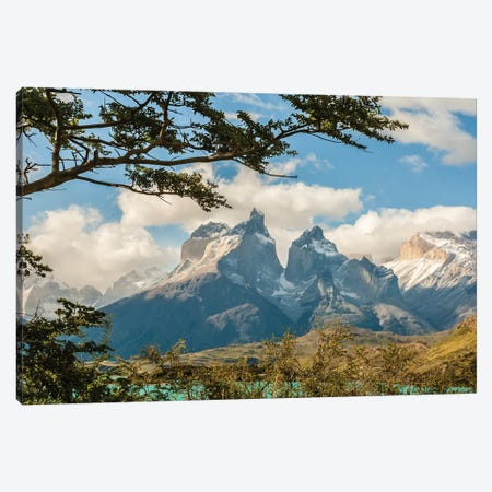 Chile, Patagonia. Lake Pehoe and The Horns mountains. Canvas Print #JYG17} by Jaynes Gallery Canvas Wall Art