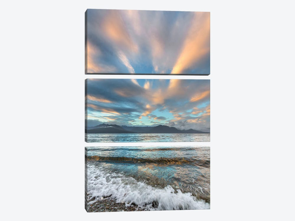USA, Washington State. Seabeck. Sunset over Hood Canal. by Jaynes Gallery 3-piece Canvas Art