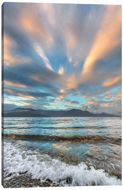 USA, Washington State. Seabeck. Sunset over Hood Canal. Canvas Art Print