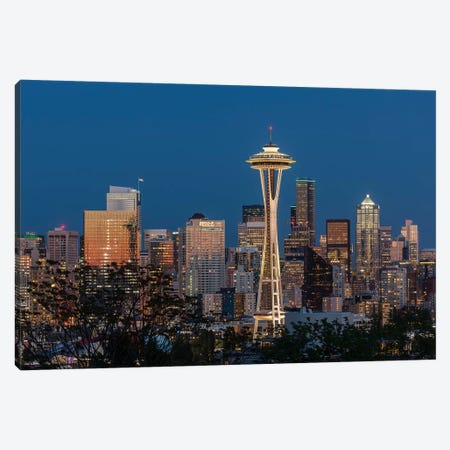 USA, Washington State. Seattle skyline at dusk. Canvas Print #JYG197} by Jaynes Gallery Canvas Artwork