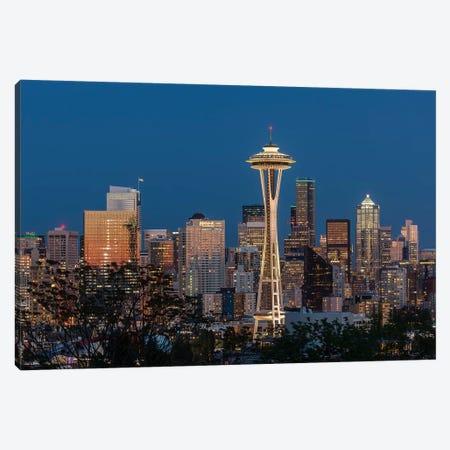 USA, Washington State. Seattle skyline at dusk. Canvas Print #JYG197} by Jaynes Gallery Canvas Artwork