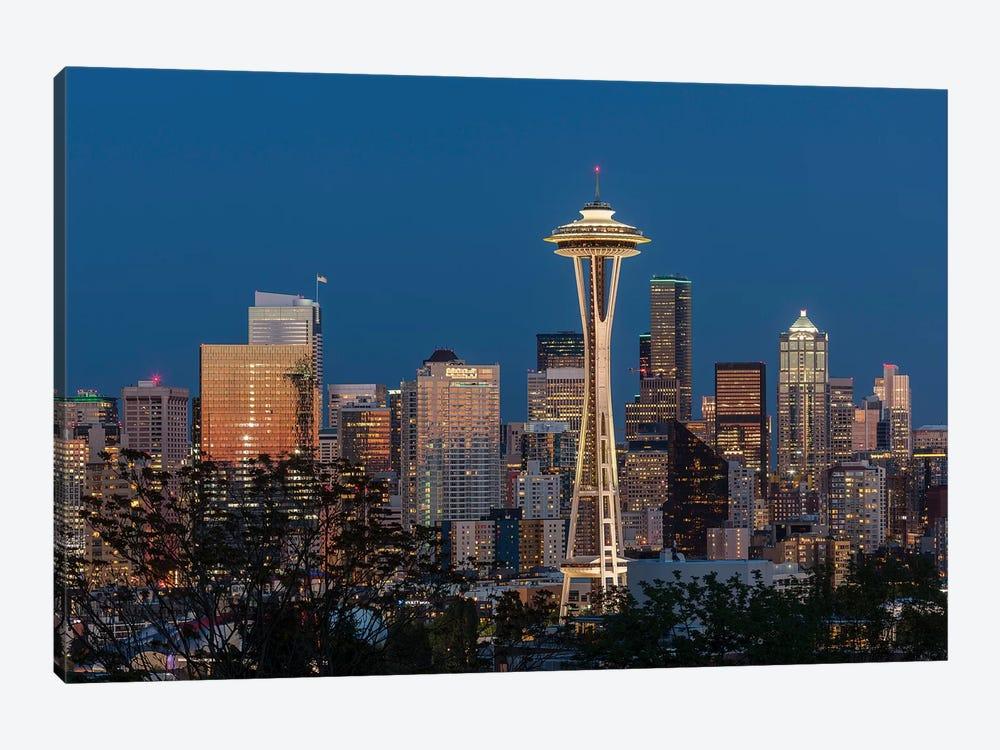 USA, Washington State. Seattle skyline at dusk. by Jaynes Gallery 1-piece Art Print