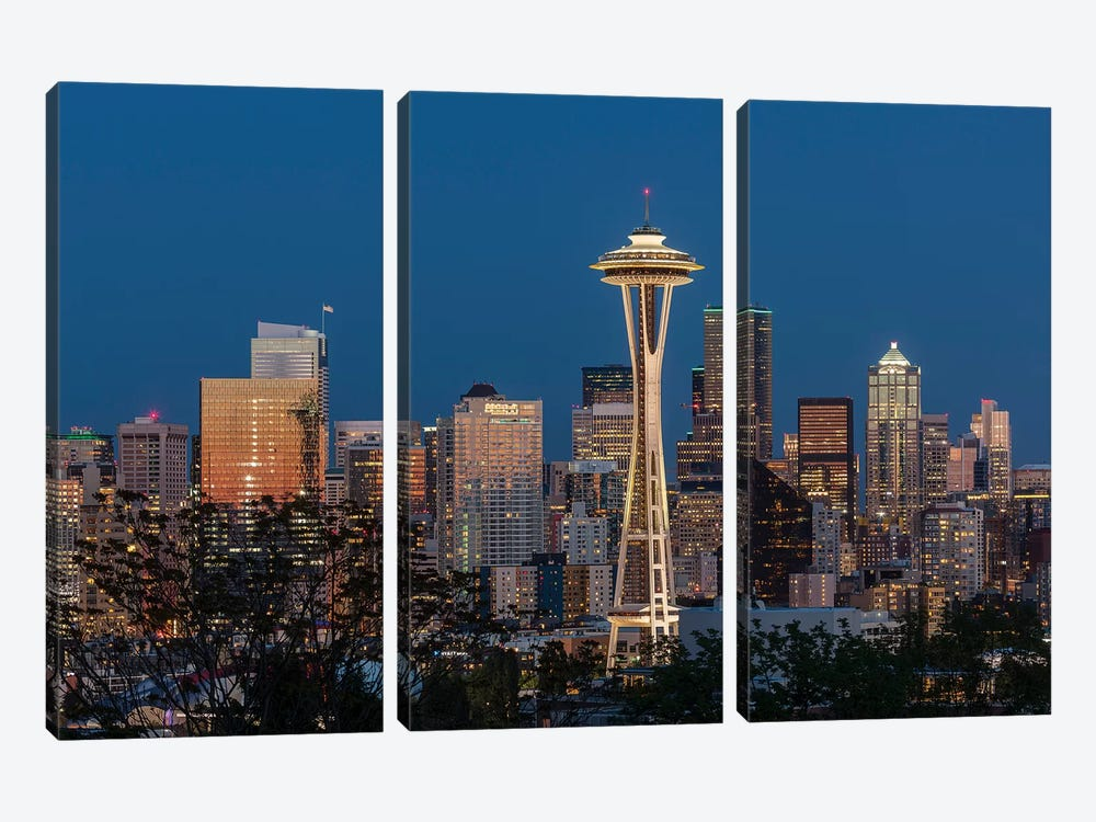 USA, Washington State. Seattle skyline at dusk. by Jaynes Gallery 3-piece Canvas Print