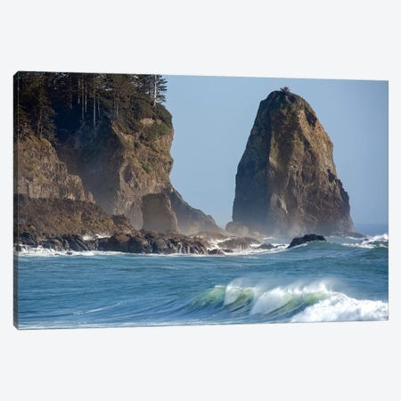 USA, Washington State. Waves crash on the shore of First Beach. Canvas Print #JYG198} by Jaynes Gallery Canvas Art Print