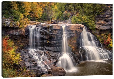 USA, West Virginia, Blackwater Falls State Park. Waterfall and forest scenic. Canvas Art Print